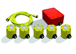HZLSLK-5 - Portable Waterproof String Light Kit with 5 fixtures and one battery backed up 12V AC power source