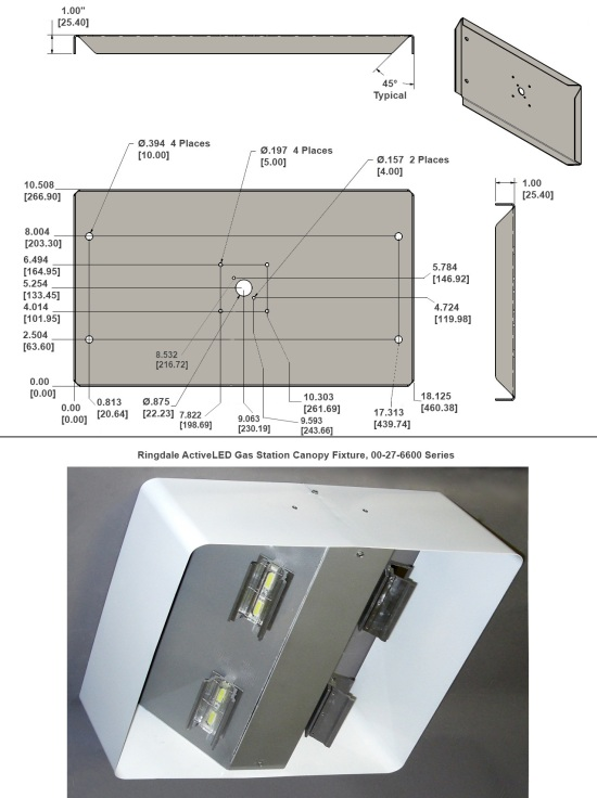 ... Gas Station Canopy light fixture for reference. 00-27-0011-0002  sc 1 st  ActiveLED & Mounting Bracket for ActiveLED® 00-27-6600 Series Gas Station ...